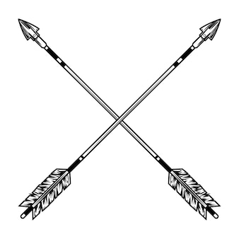 Crossed arrows vector illustration. medieval weapon, war or battle accessory