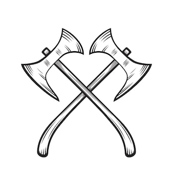 Crossed axes, medieval weapons on white, vector illustration