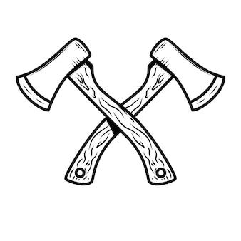 Crossed axes  on white background.  element for logo,label,emblem,sign, poster.  illustration