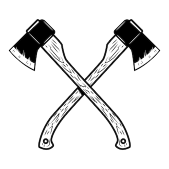 Crossed axes  on white background.  element for logo,label,emblem,sign, poster.  illustration