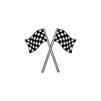 Crossed black and white checkered flags hand drawn outline doodle icon. racing finish, competition concept. vector sketch illustration for print, web, mobile and infographics on white background.