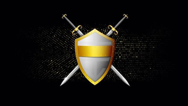 Скрещенные золотой и серебряный щит и меч на темноте