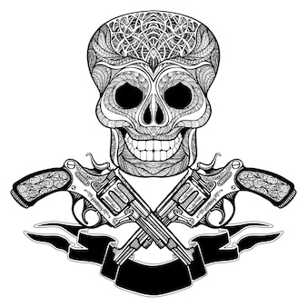 Crossed guns with ornaments  ribbon and  skull