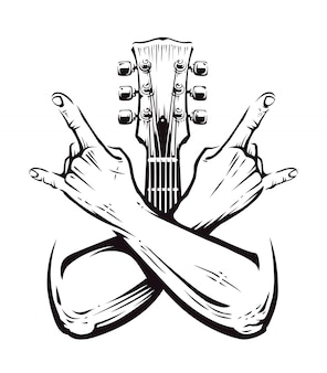 Crossed hands sign rock n roll gesture  with guitar neck on white. punk rock hands sign.  illustration.