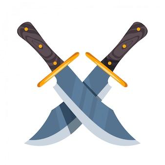 Crossed hunter knife on white