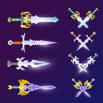 Crossed magic weapon set