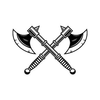交差した中世の斧。ラベル、バッジ、サインのデザイン要素。