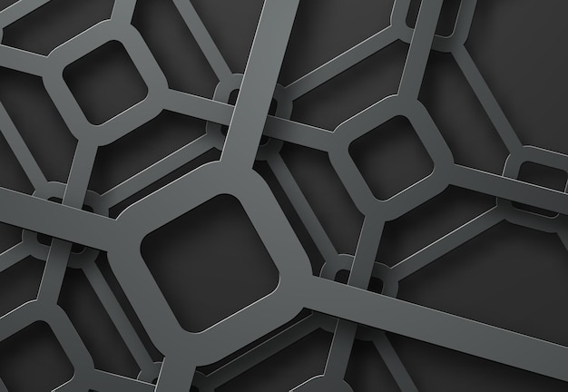 Crossed metal lines of diamonds at different levels of height on a black background.