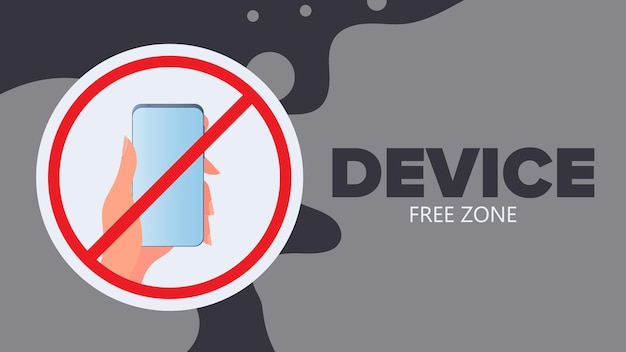 Crossed out hand icon with a phone. the concept of banning devices, device free zone, digital detox. vector.