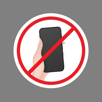 Crossed out hand icon with a phone. the concept of banning devices Premium Vector
