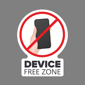 Crossed out hand icon with a phone. the concept of banning devices