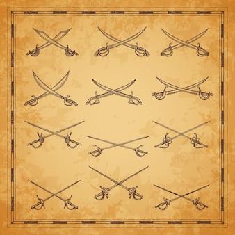 교차 해적 세이버, 칼 및 에피 스케치, 벡터 고대 지도 요소. 해적 보물 지도에 대한 빈티지 조각 스케치의 해적 해적 또는 해적 세이버 및 해상 커틀라스