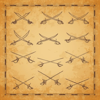 Crossed pirate sabers, swords and epees sketch, vector ancient map elements. pirate buccaneer or corsair sabers and nautical cutlass in vintage engraving sketch for pirates treasure map