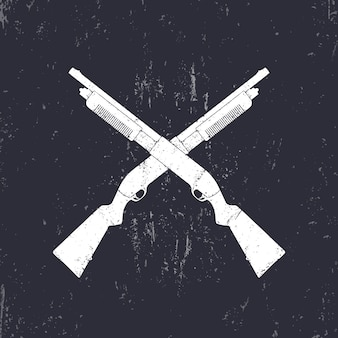 交差したショットガン、狩猟用ライフル、ベクトル図