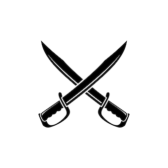 Crossed sword blade machete logo design inspiration