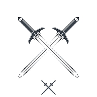 Crossed swords on white, outline and silhouette, illustration