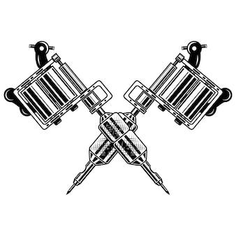 Crossed tattoo machines  on  white background.  element for poster, emblem, sign, badge.  illustration