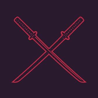 交差した伝統的な日本刀、刀、赤い輪郭