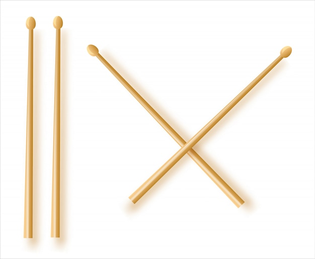 Crossed wooden drumsticks. percussion musical instrument.