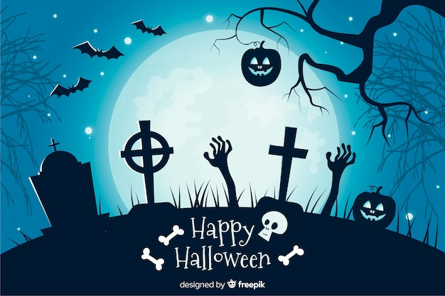 Crosses in a cemetery flat halloween background