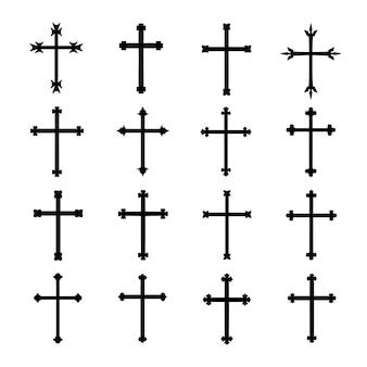 Crosses icon vector illustration set