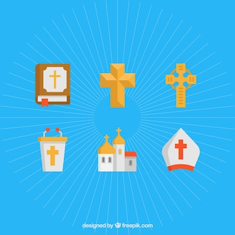 Crosses. Religious symbols Set