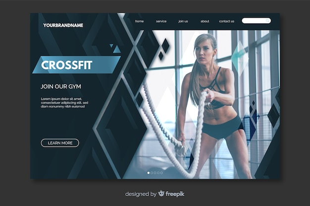 Crossfit landing page with photo
