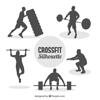 Crossfit man silhouettes collecti