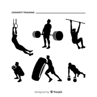 Crossfit man training silhouette collection