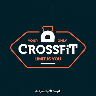 Crossfit motivational emblem flat style