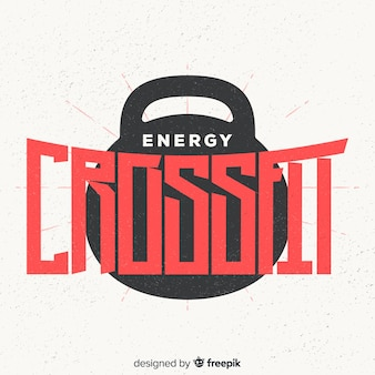 Crossfit motivational logo flat design