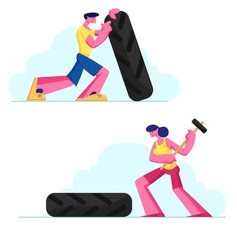 Crossfitまたはボディービルのコンセプト、強力でパワーアスレチックの男性と女性がハンマーでタイヤを持ち上げて打つ