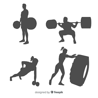 Crossfit training man and woman silhouettes collection