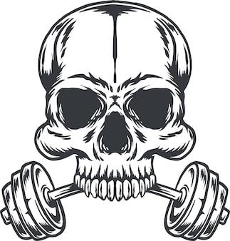 バーベルとcrossfitヴィンテージイラストボディービルダーの頭蓋骨