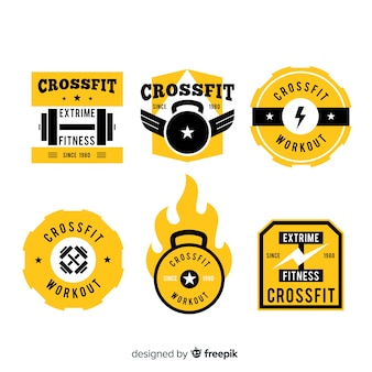 黄色のcrossfitロゴのテンプレートコレクション