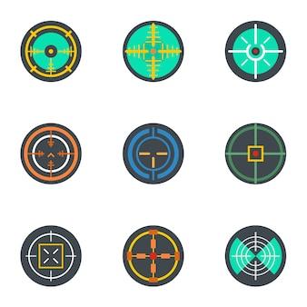 Crosshair icon set, flat style