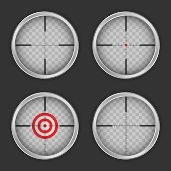 Crosshair icon set, realistic style