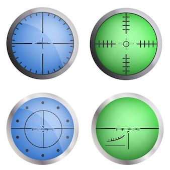 Crosshair target icon set. realistic set of crosshair target vector icons for web design Premium Vector