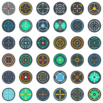 Crosshair target scope sight icons set