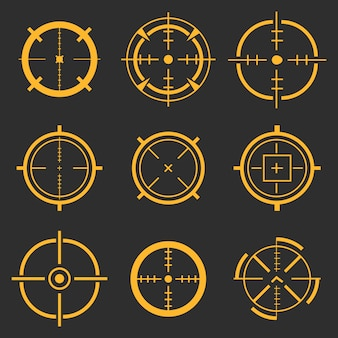 Crosshairs, target aim, aiming to bullseye icons.
