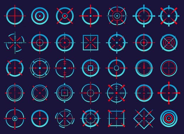 Crosshairs, target aim, aiming to bullseye icons.