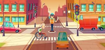 歩行者と交差する移動を調整する交差点ガード