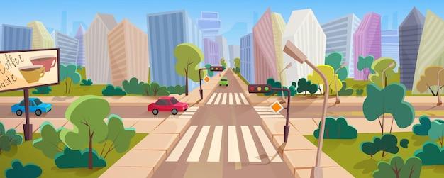 大きな近代都市の漫画のパノラマでの交差点