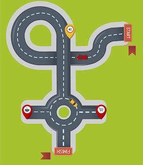 Crossroad icon, flat style