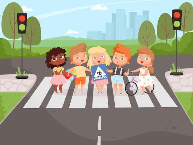 交差点のルール。路上で信号機や看板について学ぶ子供たち