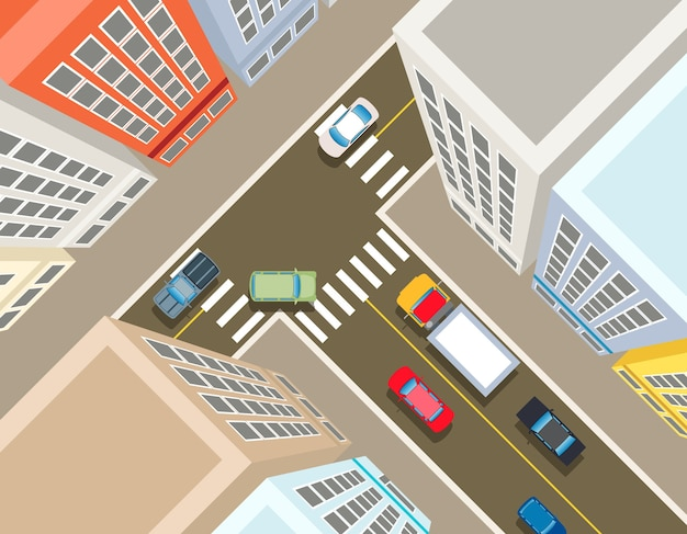 Crossroads in the city, top view. transport car, urban and asphalt, traffic and building illustration