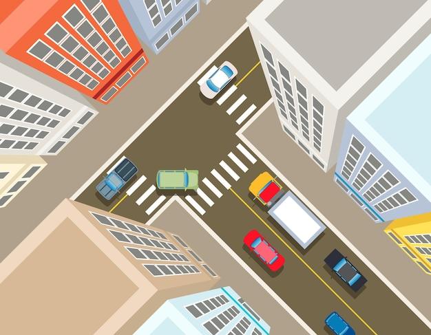 街の交差点、上面図。輸送車、都市とアスファルト、交通と建物のイラスト