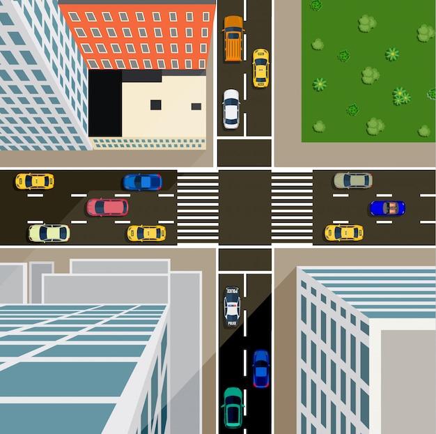 都市の平面図の交差点。