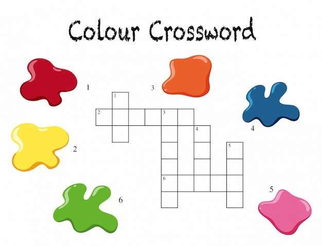 A crossword colour game template