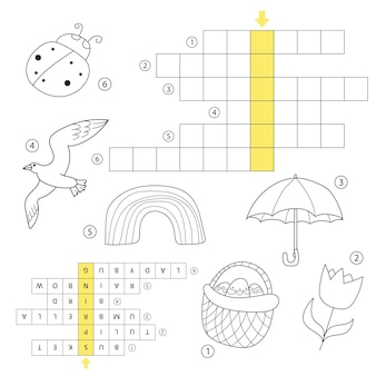 답이 있는 낱말 교육 어린이 게임. 봄 테마 퍼즐 학습. 취학 전 및 취학 연령의 어린이를 위한 색칠하기 책. 답변으로